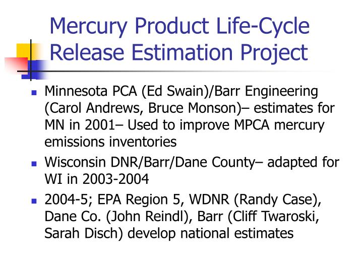 Mercury Product Life-Cycle Release Estimation Project