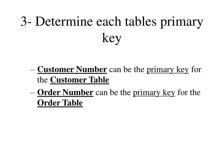 3- Determine each tables primary key