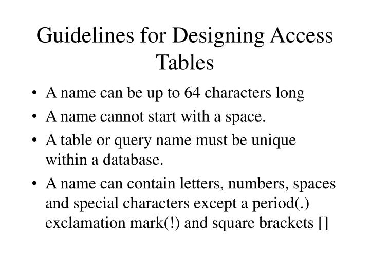 Guidelines for Designing Access Tables