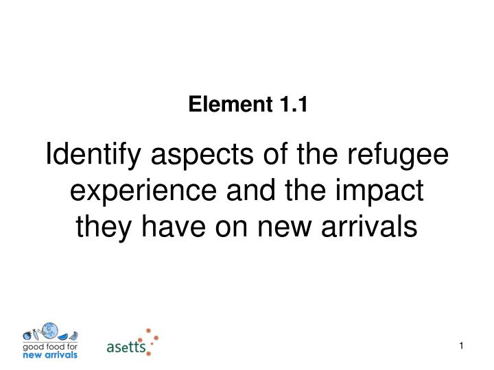 identify aspects of the refugee experience and the impact they have on new arrivals n.
