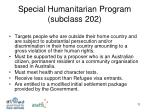 special humanitarian program subclass 202