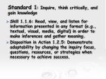standard 1 inquire think critically and gain knowledge