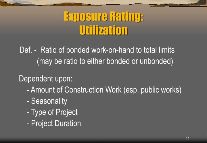 Def. -  Ratio of bonded work-on-hand to total limits