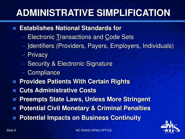 ADMINISTRATIVE SIMPLIFICATION