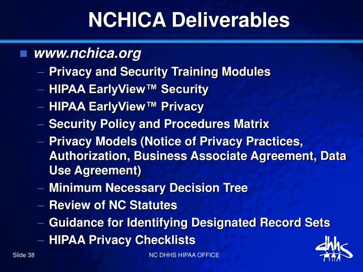 NCHICA Deliverables