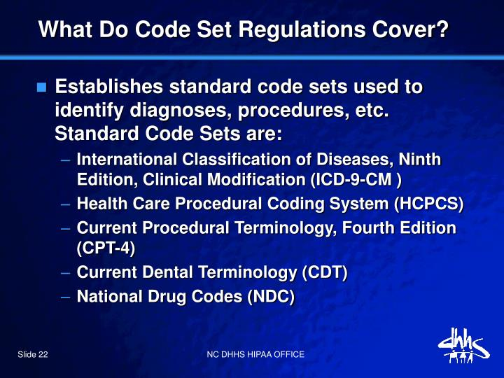 What Do Code Set Regulations Cover?