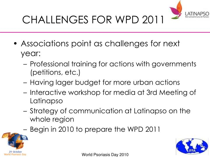 CHALLENGES FOR WPD 2011