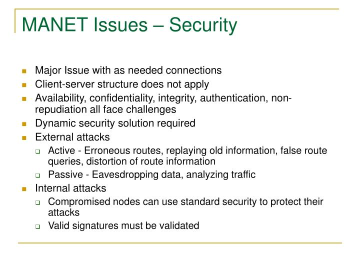MANET Issues – Security