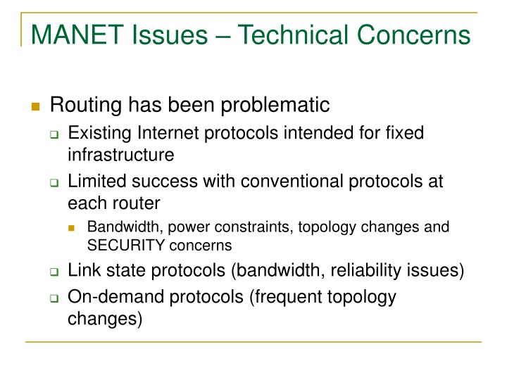 MANET Issues – Technical Concerns