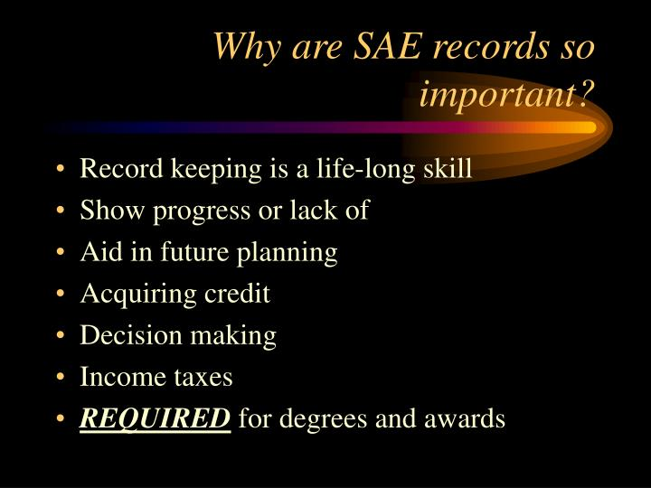 Why are SAE records so important?