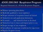 ansi z88 1969 respirator program