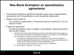 new block exemption on specialisation agreements