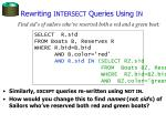 rewriting intersect queries using in