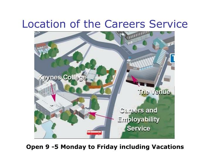 Location of the careers service
