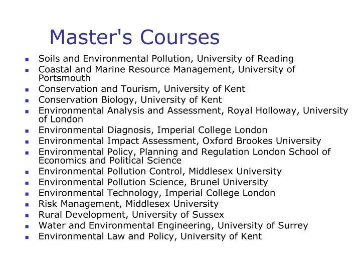 Master's Courses