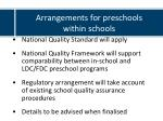 arrangements for preschools within schools