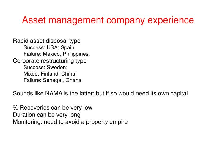 Asset management company experience