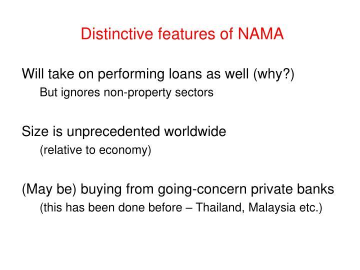 Distinctive features of NAMA