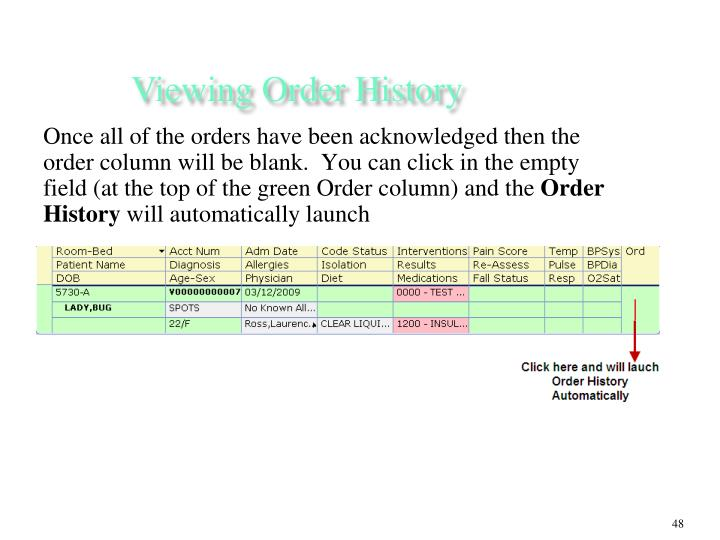 Viewing Order History