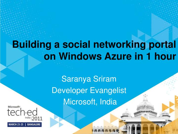 building a social networking portal on windows azure in 1 hour n.
