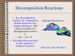 decomposition reactions