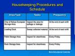 housekeeping procedures and schedule