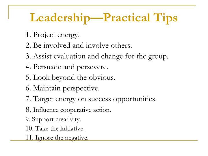 Leadership—Practical Tips