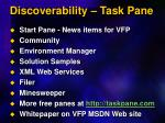 discoverability task pane