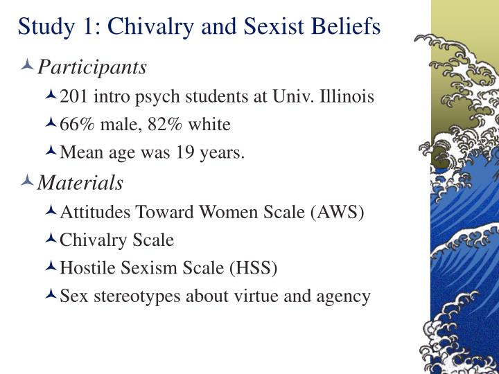 Study 1 chivalry and sexist beliefs