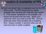 location availability of ppe