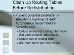 clean up routing tables before redistribution