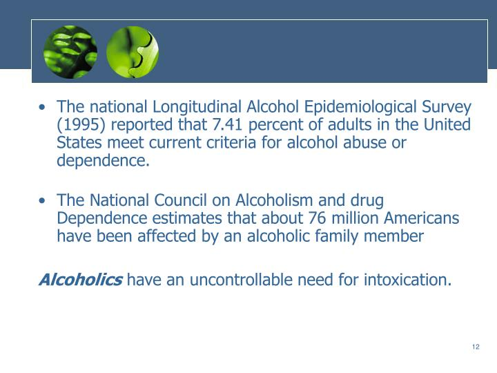 The national Longitudinal Alcohol Epidemiological Survey (1995) reported that 7.41 percent of adults in the United States meet current criteria for alcohol abuse or dependence.