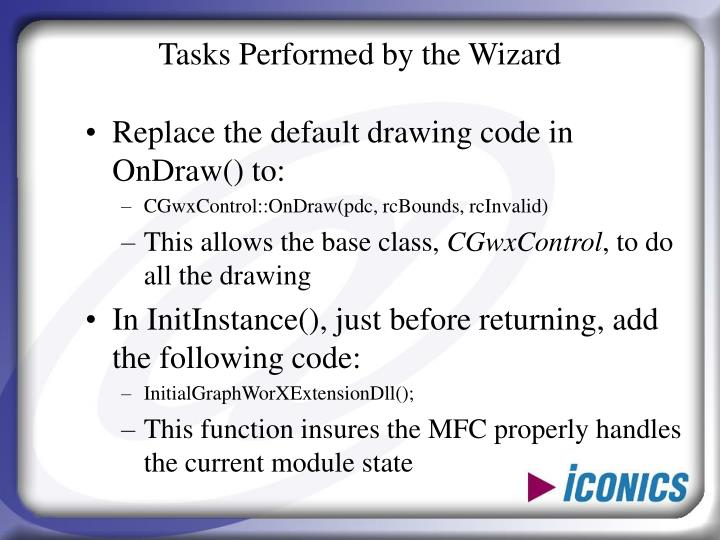 Tasks Performed by the Wizard