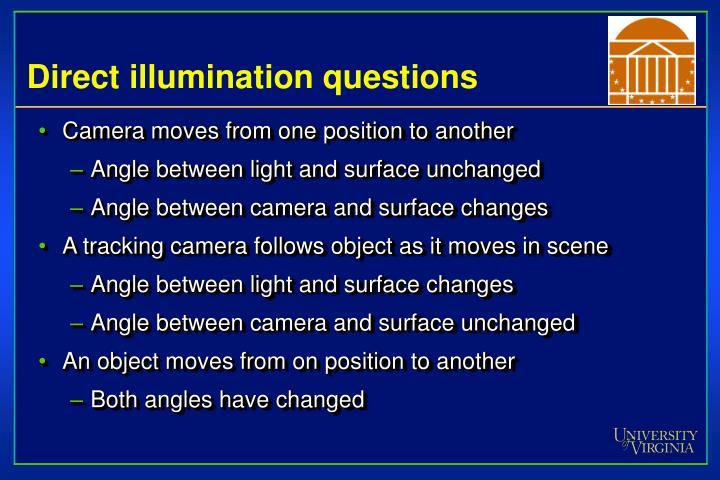 Direct illumination questions