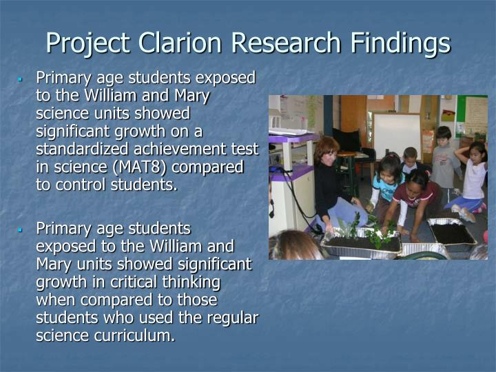 Project Clarion Research Findings