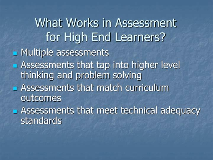 What Works in Assessment