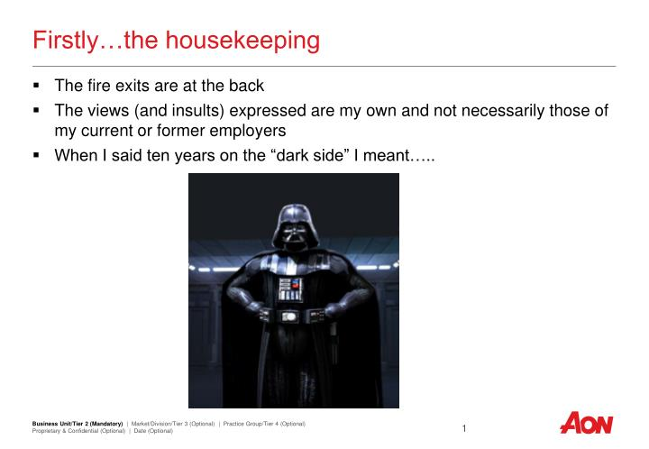Firstly the housekeeping