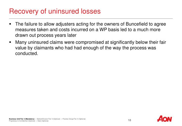 Recovery of uninsured losses