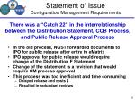 statement of issue configuration management requirements