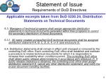 statement of issue requirements of dod directives