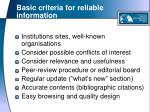 basic criteria for reliable information