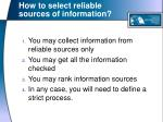 how to select reliable sources of information