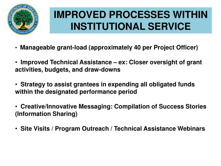 IMPROVED PROCESSES WITHIN INSTITUTIONAL SERVICE
