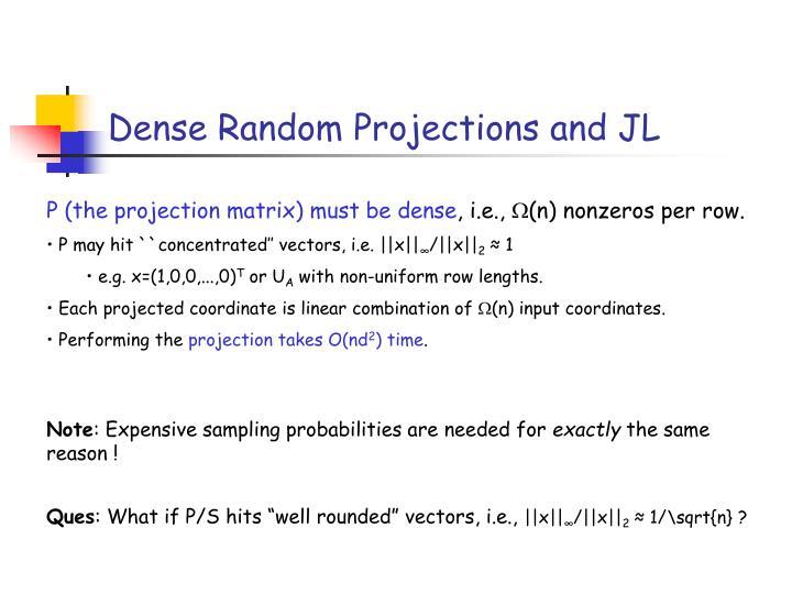 Dense Random Projections and JL