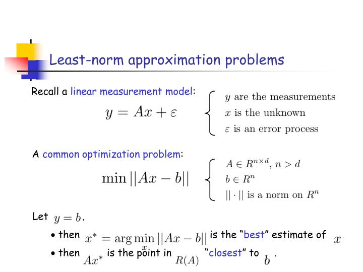 Least-norm approximation problems