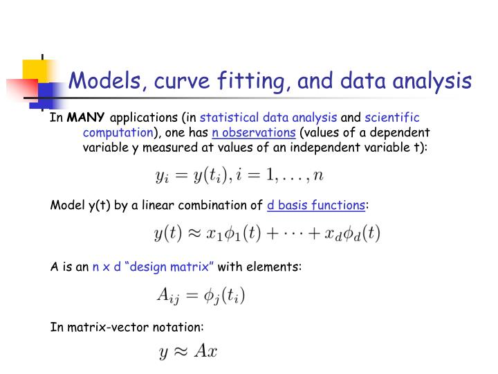 Models curve fitting and data analysis