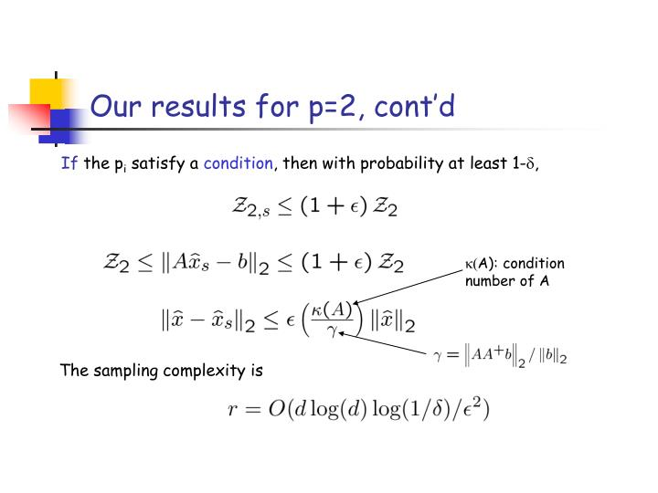Our results for p=2, cont'd