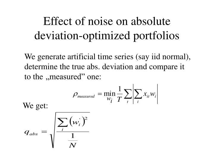 Effect of noise on absolute deviation-optimized portfolios