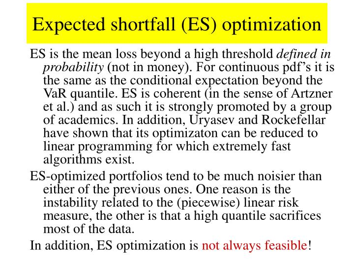 Expected shortfall (ES) optimization