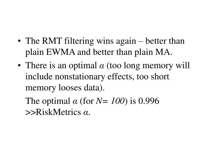 The RMT filtering wins again – better than plain EWMA and better than plain MA.